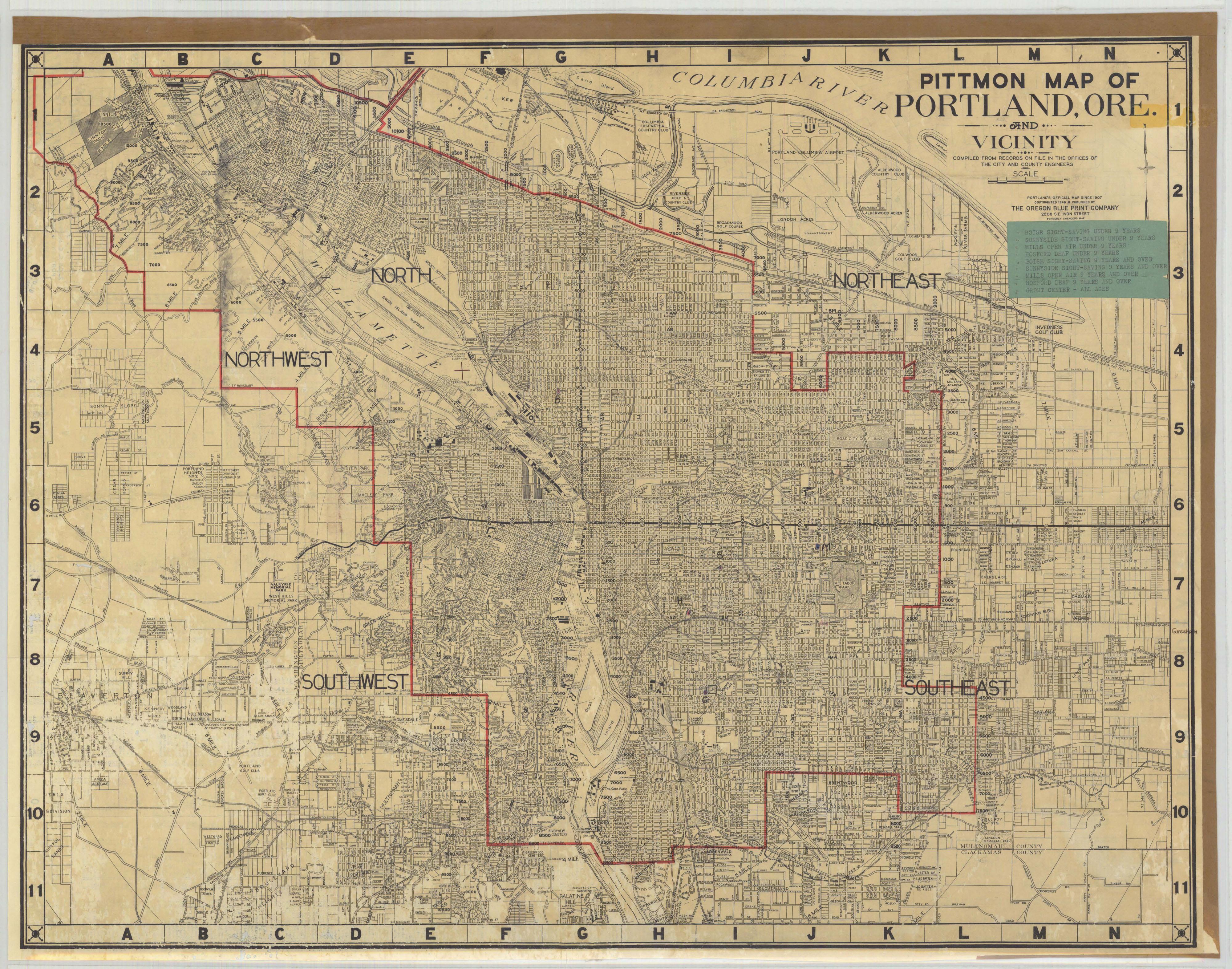 Vintage Oregon Map.Pittmon Map Of Portland 1946 Vintage Portland