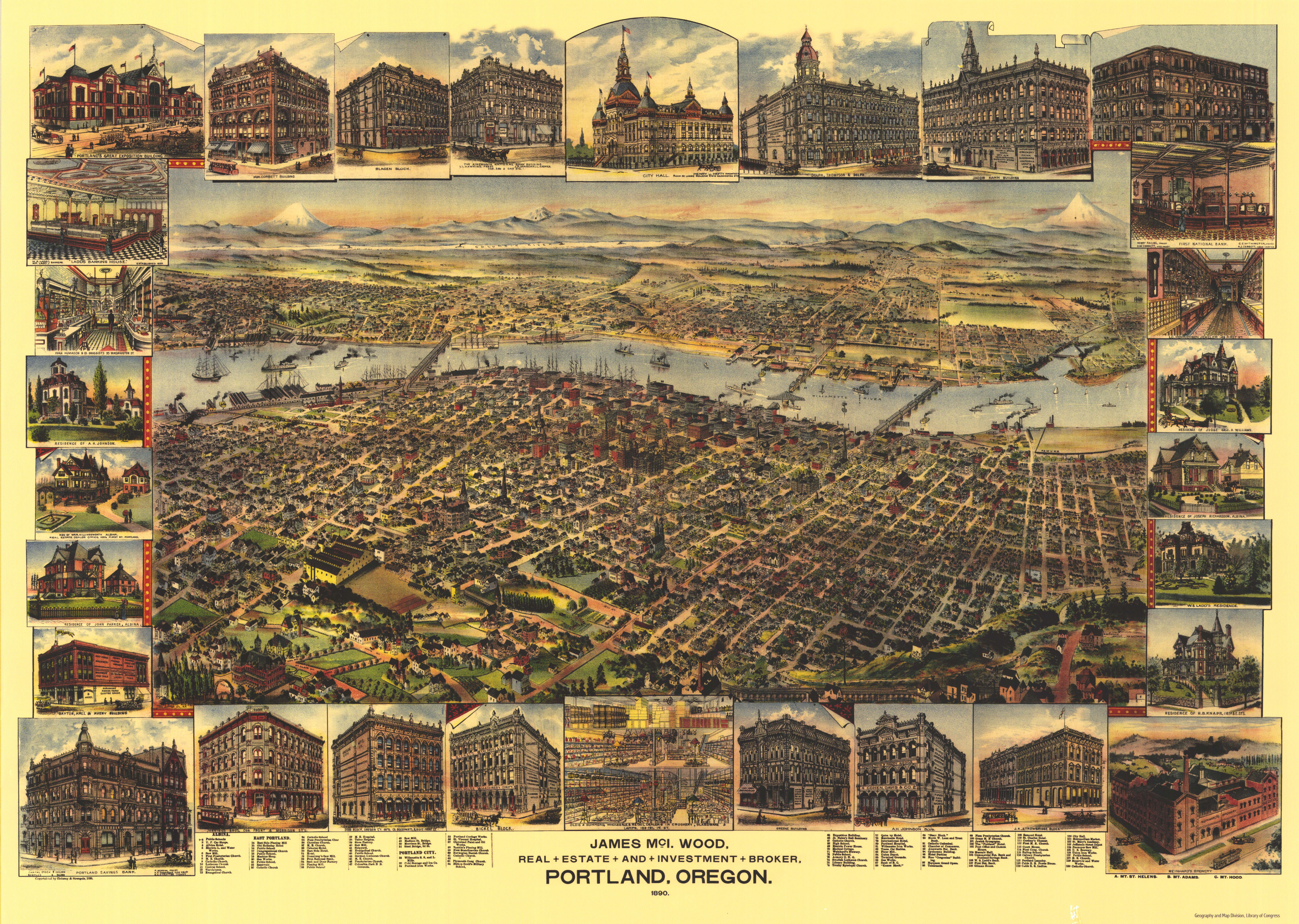 U Of Oregon Map.Illustrated Aerial Map 1890 Vintage Portland