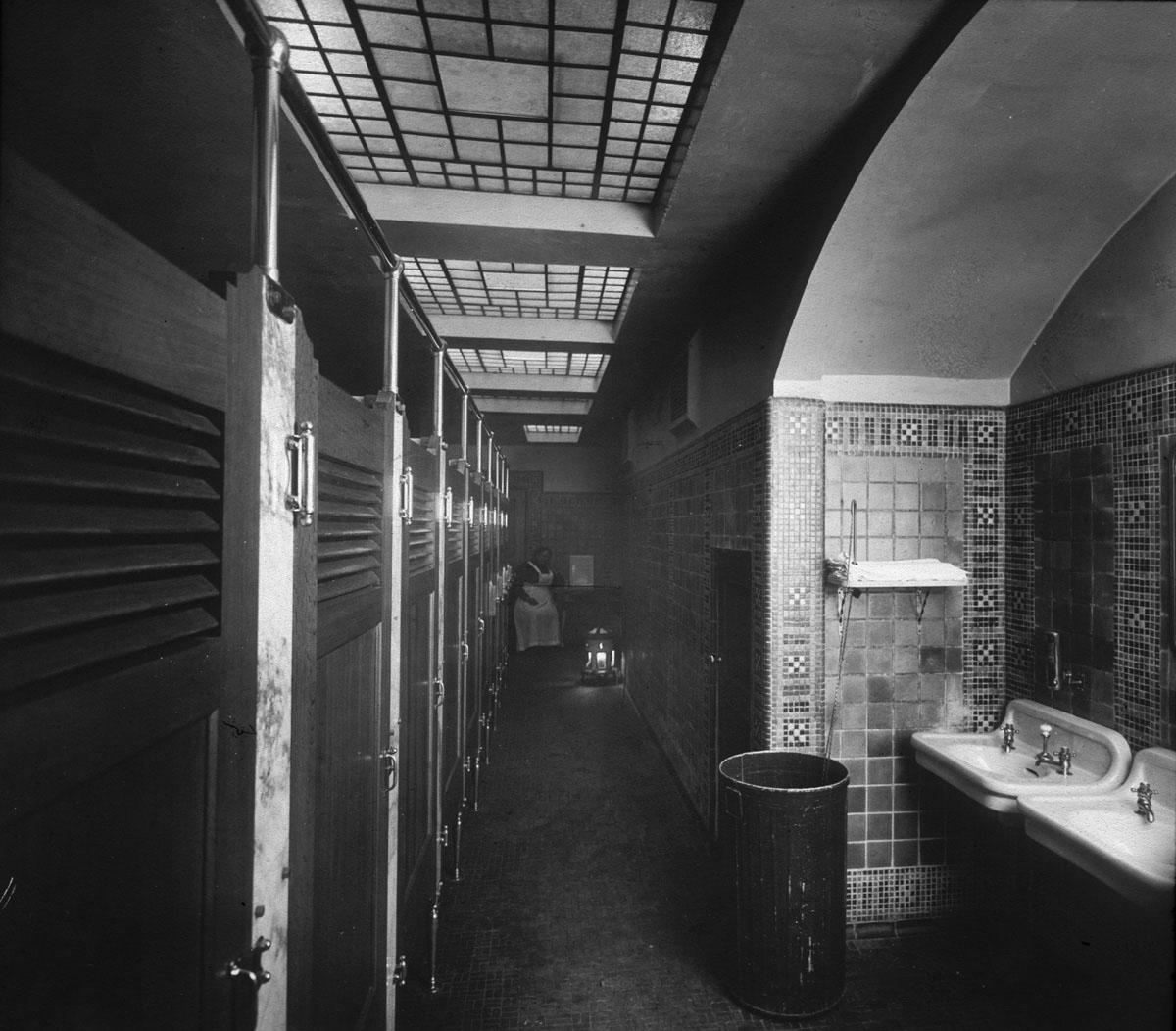 Bathroom Stalls Portland Oregon restroom interior, 1912 | vintage portland