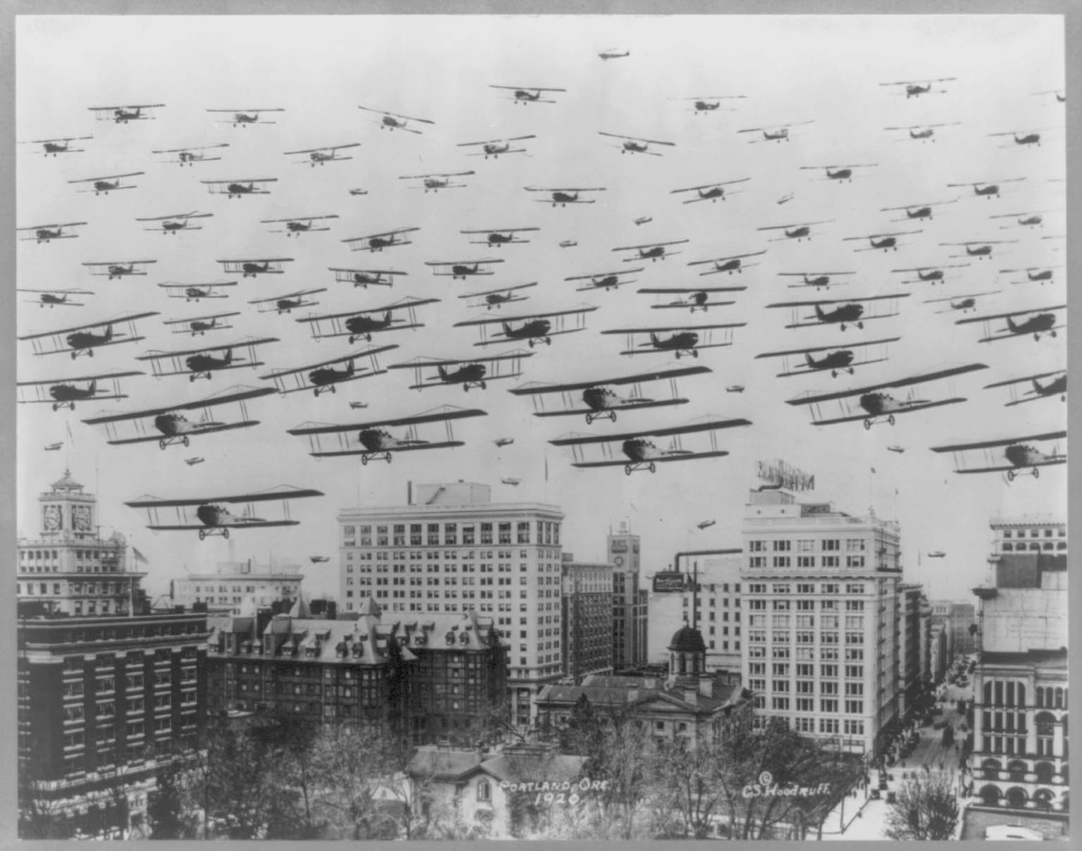 Biplanes Over Portland 1920