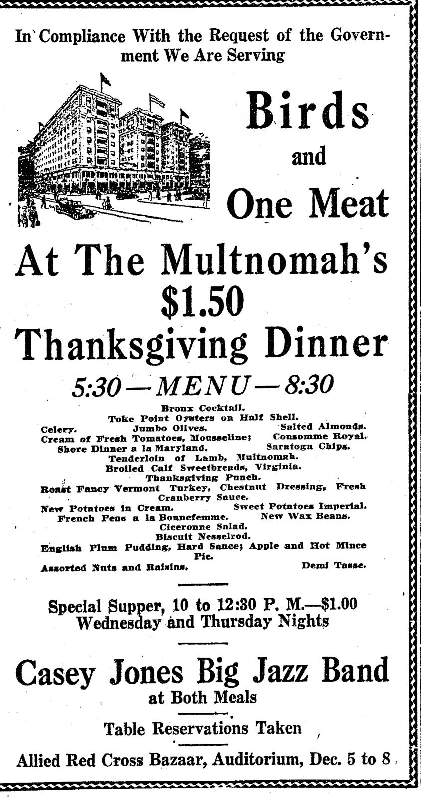 Multnomah Hotel Thanksgiving, 1917