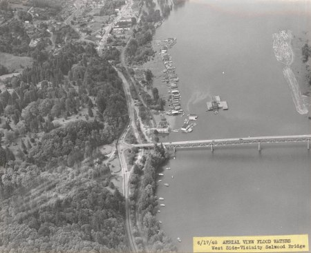 A1999-004.1103 Aerial view flood waters  west side Sellwood Bridge 1948