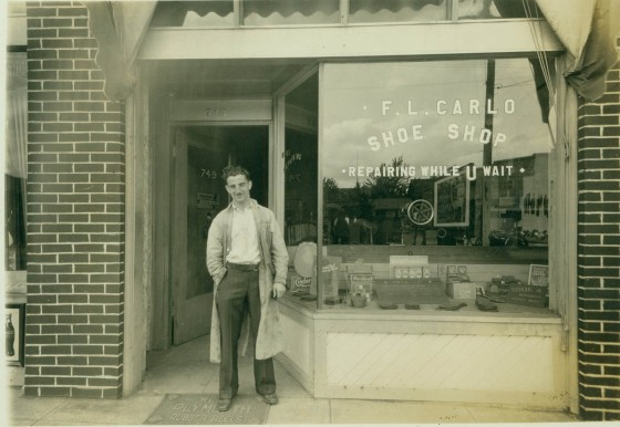 A2008-001.34 Exterior view of F.L. Carlo Shoe Shop 1931