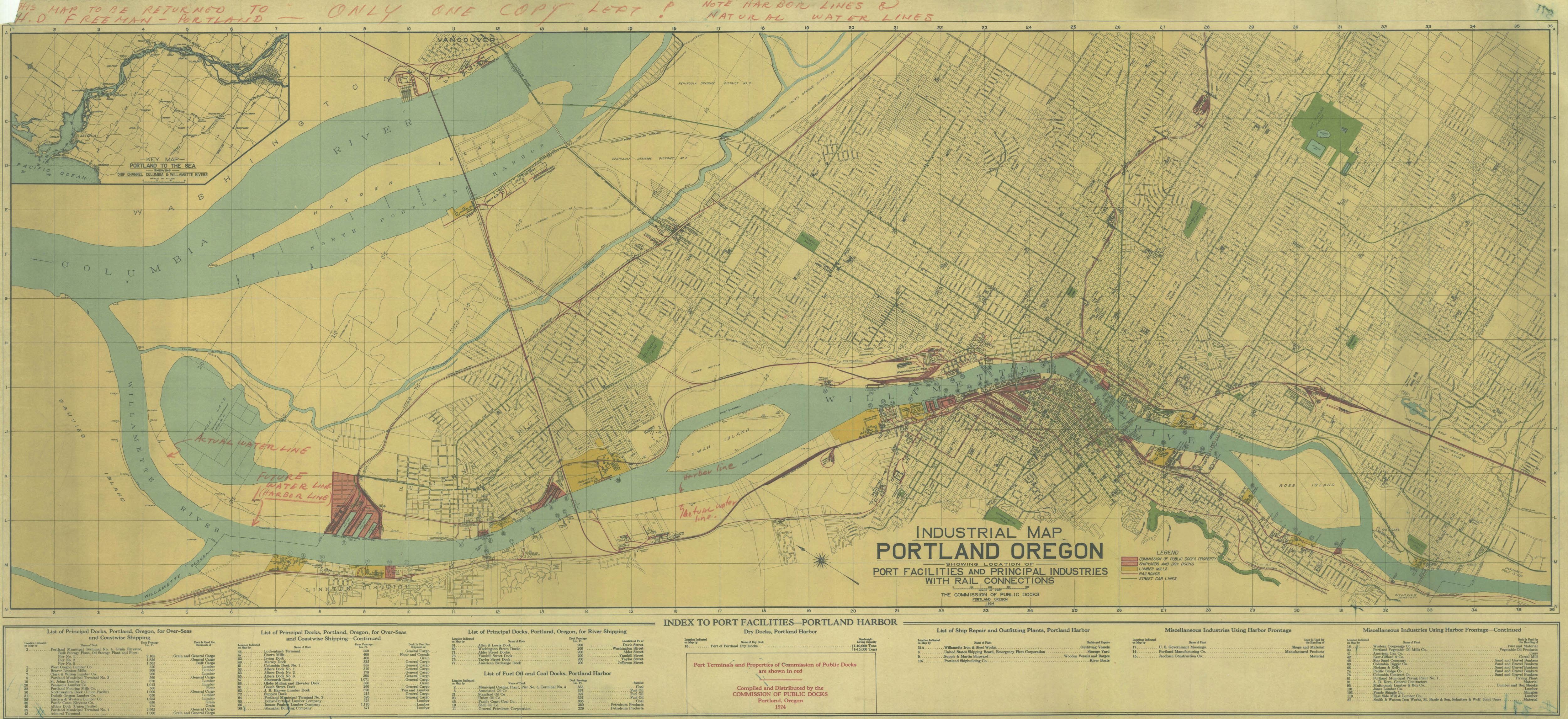 Industrial Map of Portland, 1924 | Vintage Portland
