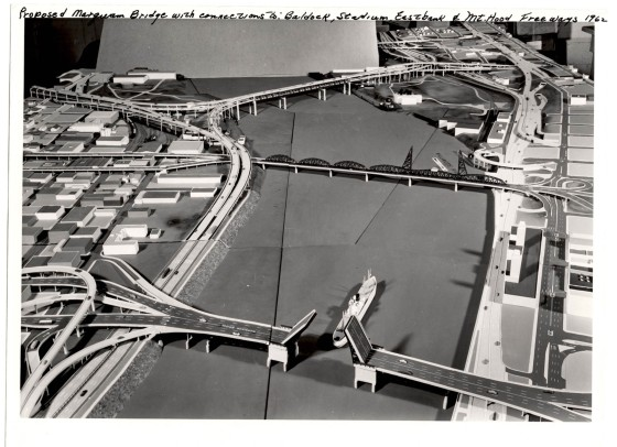 A2005-001.413 Marquam Bridge proposal model with freeway connections looking south 1962