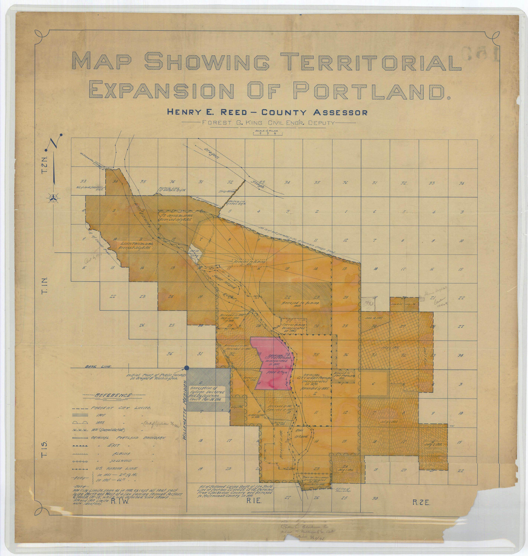map illustrating territorial expansion of portland 1915 3k