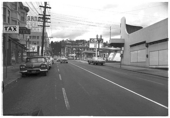 W Burnside and 20th Ave looking west 1967