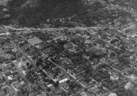 A2010-001.92  Aerial of SW Portland centered on South Park Blocks c1938