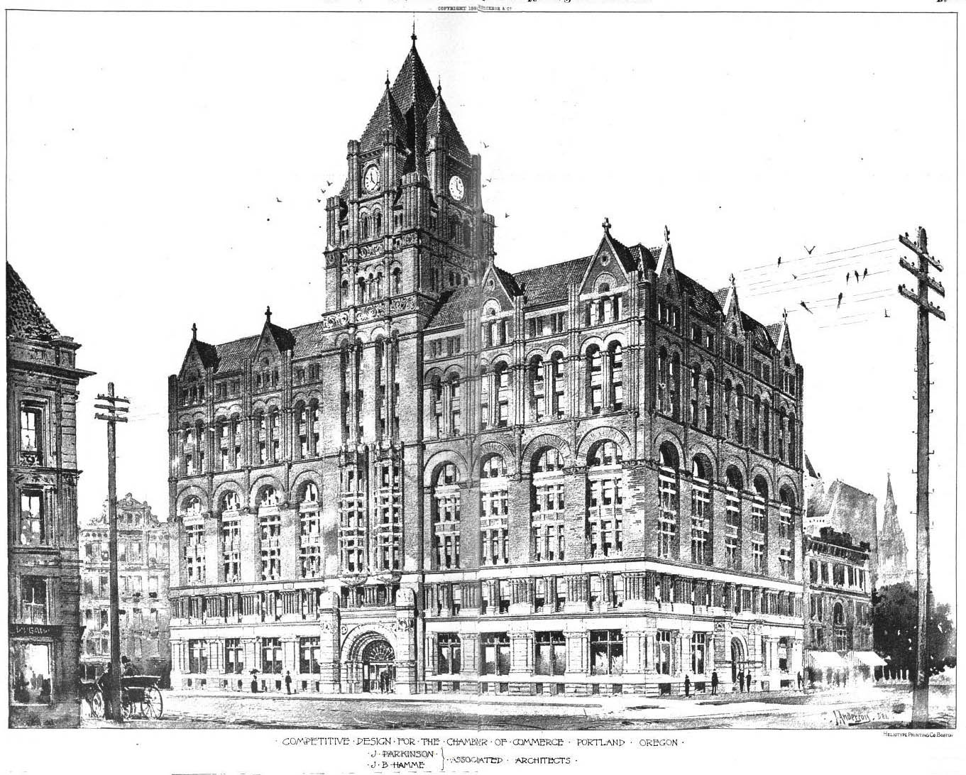 Chamber of commerce illustration 1890 vintage portland 1890 home architecture