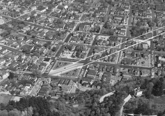 A2010-001.101 Aerial of close-in SW Portland 1938
