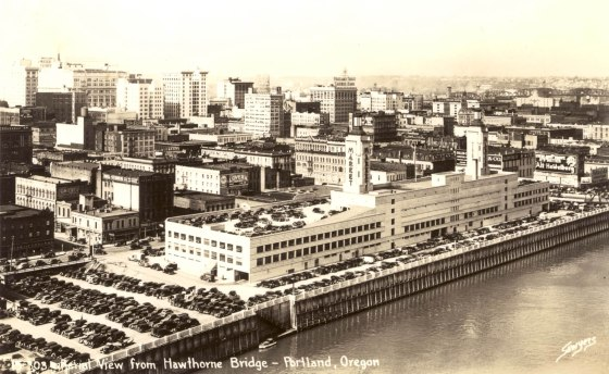 A2004-002.1610 Aerial view from Hawthorne Bridge Public Market 1941