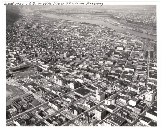 A2005-001.616  Stadium Freeway future northbound route looking northwest 1964