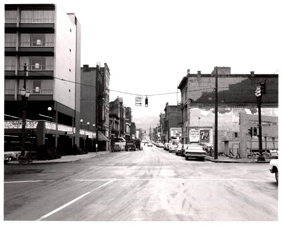 A2005-001.452  SW Morrison St and 1st Ave looking south 1965