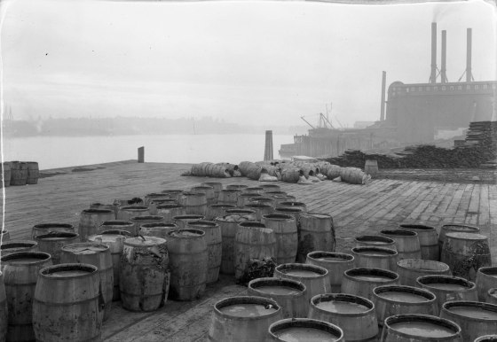 A2009-009.1354 Dock at Municipal Paving Plant - foot of SW Jefferson St 1924