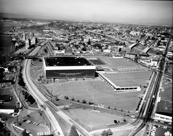 Aerial of Memorial Coliseum looking north 1969