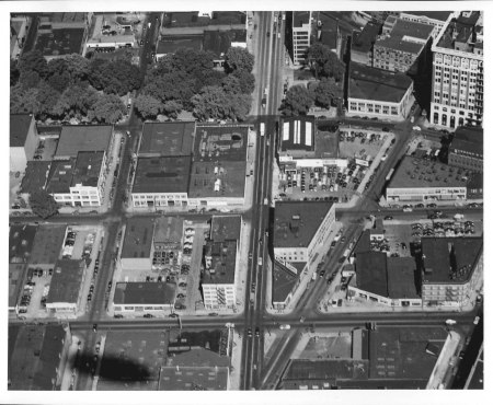 Aerial of W Burnside, Tenth Ave and Oak St 1947