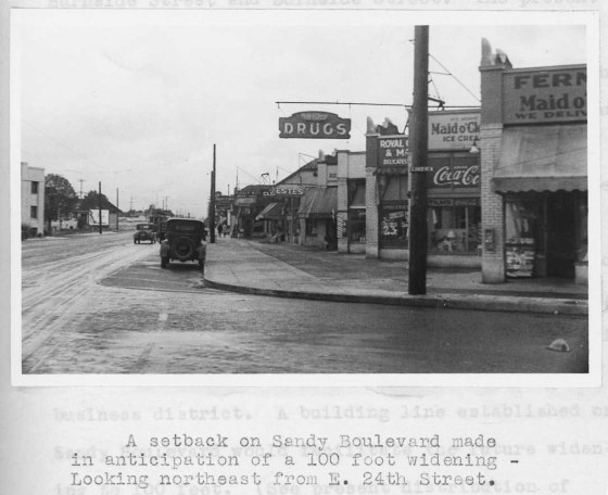 NE Sandy looking northeast from 24th Ave 1932
