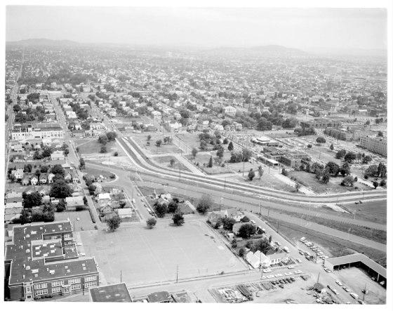 Aerial of Emanuel Hospital east 1974