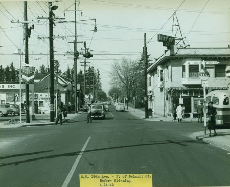 A2000-025.2109 Before widening SE 39th north of Belmont 1949