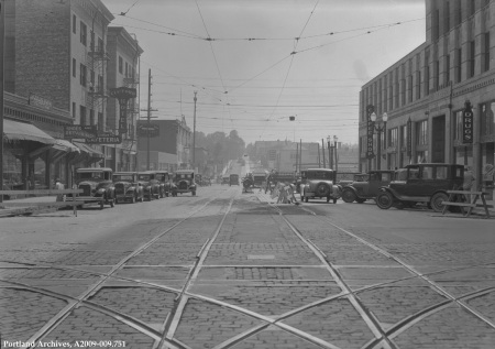 SE Morrison St looking east from Grand Ave, circa 1932 : A2009-009.751