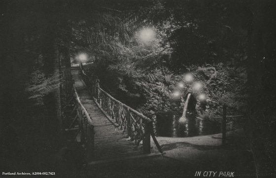 Night in Portland-Night view of a bridge in City Park, 1913 : A2004-002.7421