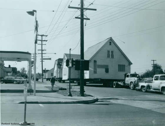 N Vancouver Ave house moving, circa 1963 : A2005-001.684