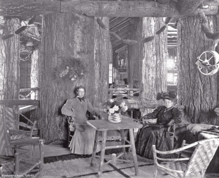 Two women on upper balcony of Forestry Building