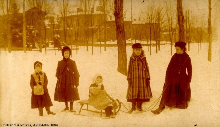 Children with a sled in the Park Blocks, circa 1890 : A2004-002.1084