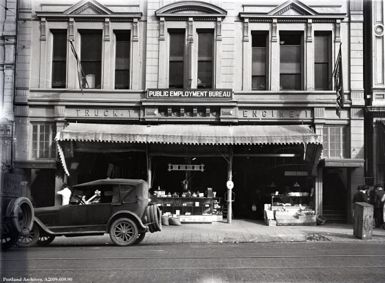 Public Empolyment Bur exterior view SW 3rd and Yamhill, circa 1925 : A2009-009.90