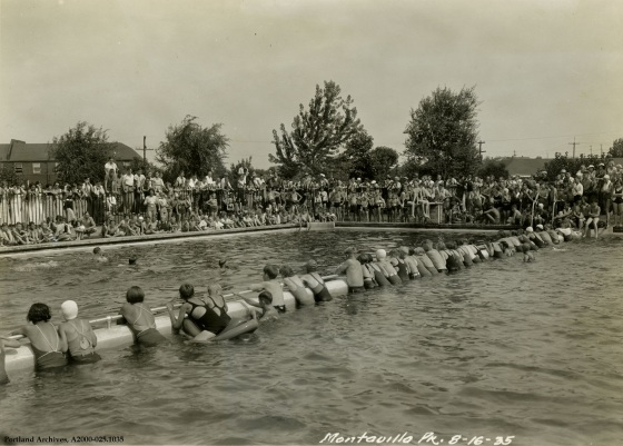 Large group of children in pool at Montavilla Park for recreational program, Aug. 16, 1935 : A2000-025.1035