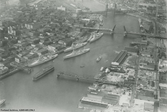 Aerial view of ships arriving for the Rose Festival in downtown Portland, 1935 : A2005-005.1396.3