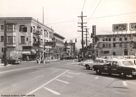 W Burnside St looking east from SW 18th Ave, April 6, 1967 : A2001-007.636