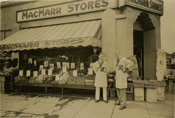 Exterior view of MacMarr Stores  at 3979 NE Martin Luther King Blvd, circa 1931 : A2008-001.50