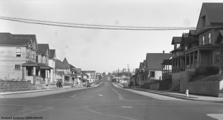 E Burnside St. and 22nd Ave. looking east, circa 1934 : A2009-009.699