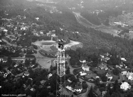 Aerial above Council Crest looking toward Children's Museum, 1973 : A2012-005