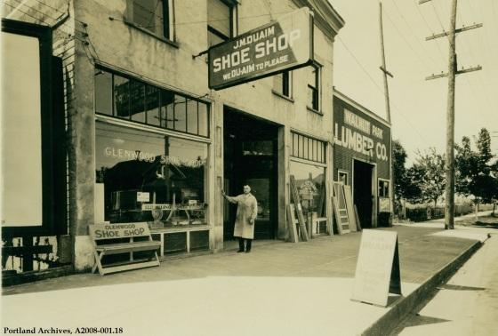 Exterior view of J.M. Duwain Shoe Shop   3412 N Lombard, circa 1932 : A2008-001.18