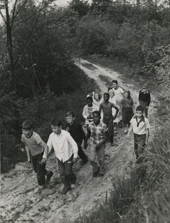 Children hiking through Forest Park, June 30, 1953: A2001-045.681