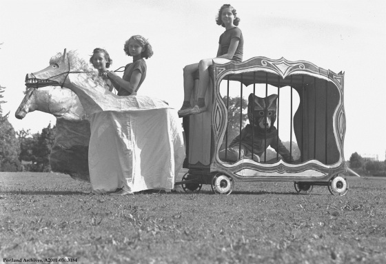 Peninsula Park Circus   people in animal costumes, circa 1939: A2001-030.3184
