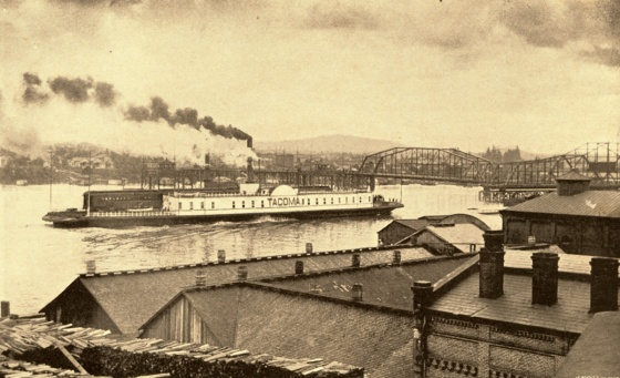 Tacoma boat approaching Burnside Bridge, June 1894: A2004-002.692