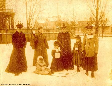 Girls in the snow in SW Portland, circa 1890: A2004-002.1087