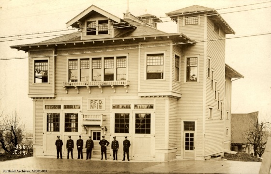 Full view of station exterior with crew, 1913: A2001-083