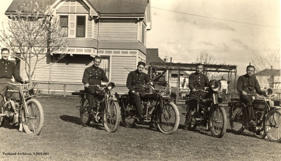 Firefighters on motorcycles, circa 1915: A2001-083