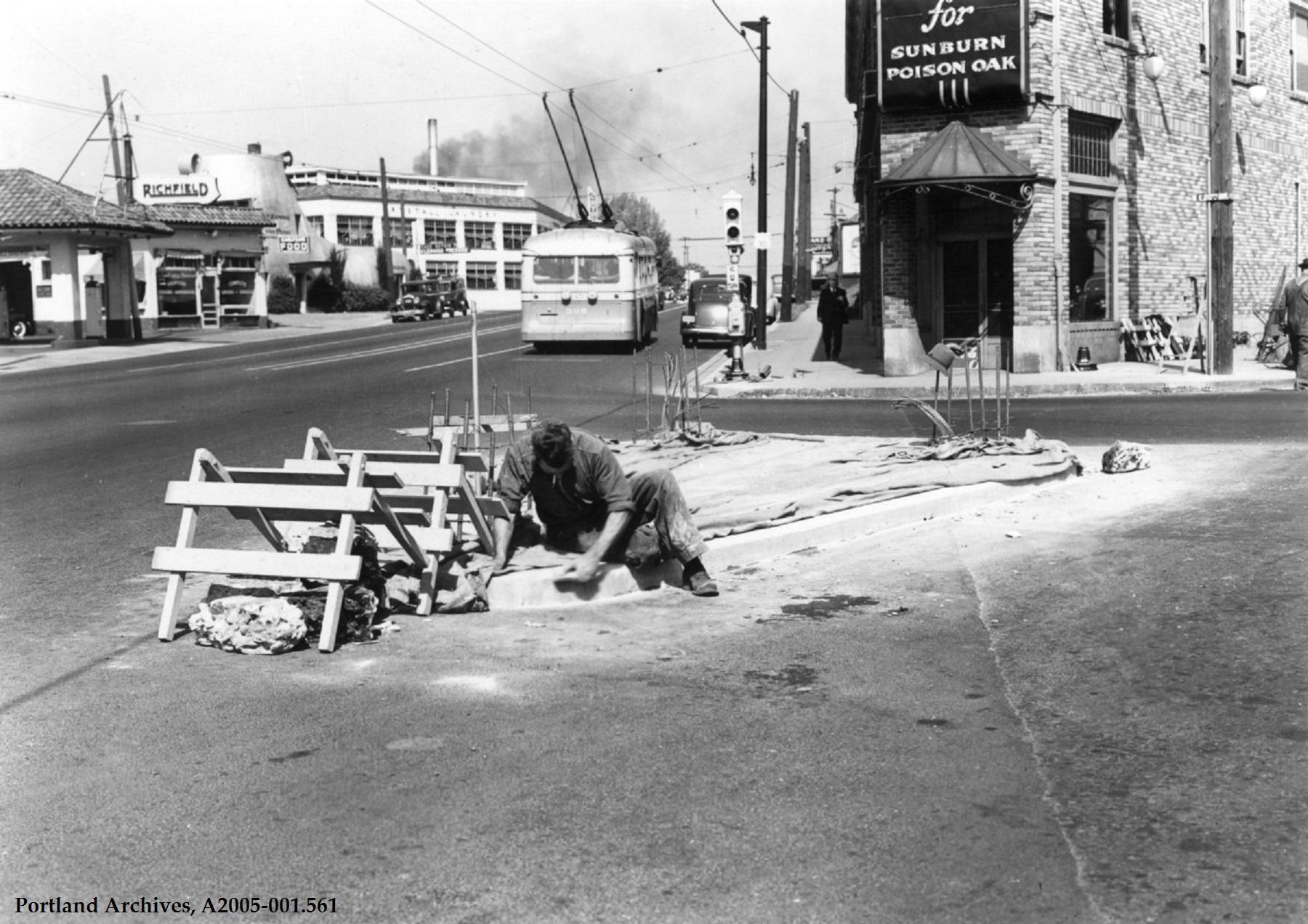 NE Sandy Blvd.  at 20th Ave. looking northeast, circa 1940: A2005-001.561