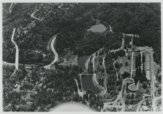 Aerial of Washington Park reservoirs, circa 1940: A2005-005.1442.1