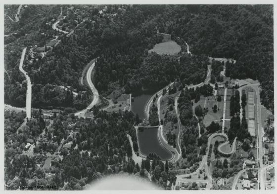Aerial of Washington Park reservoirs, circa 1940: A2005-005.1442.1