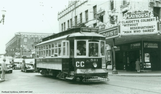 Portland Traction Company Council Crest trolley at SW 11th and Morrison, 1946: A2011-007.1447