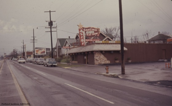 View of the Alibi Resturant on N Interstate at N Shaver (VZ 444-63), 1963: A2011-013