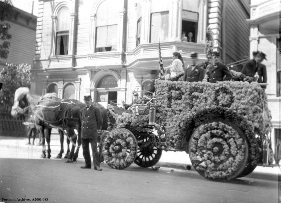 Engine 13 hose wagon decorated for Rose Festival, 1908: