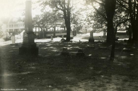Mt Tabor car 652 passing Lone Fir Cemetery, 1946: A2011-007.219