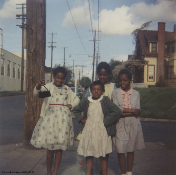 Neighborhood Children at the southwest corner of N Knott Street and Commercial Avenue, 1959: A2011-025.27